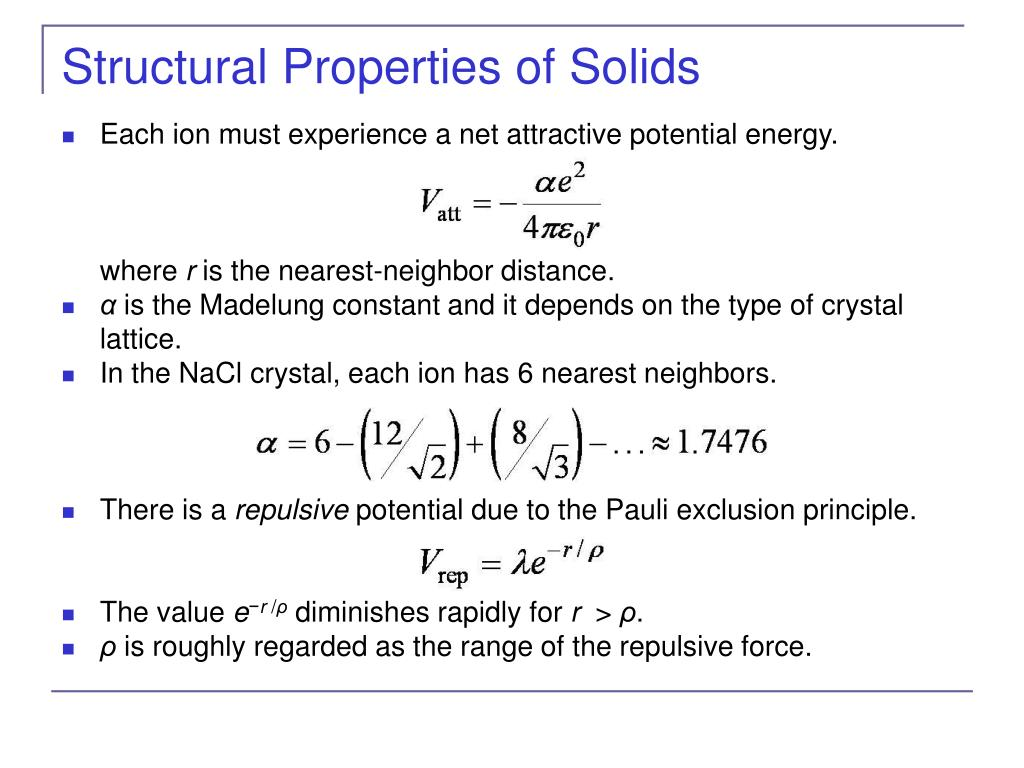 Structural Properties of Solids