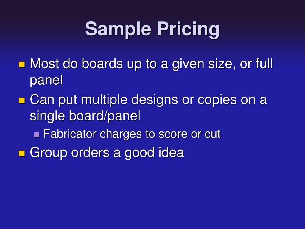 Sample Pricing