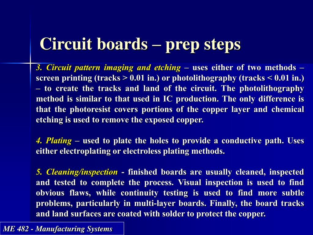 Circuit boards – prep steps