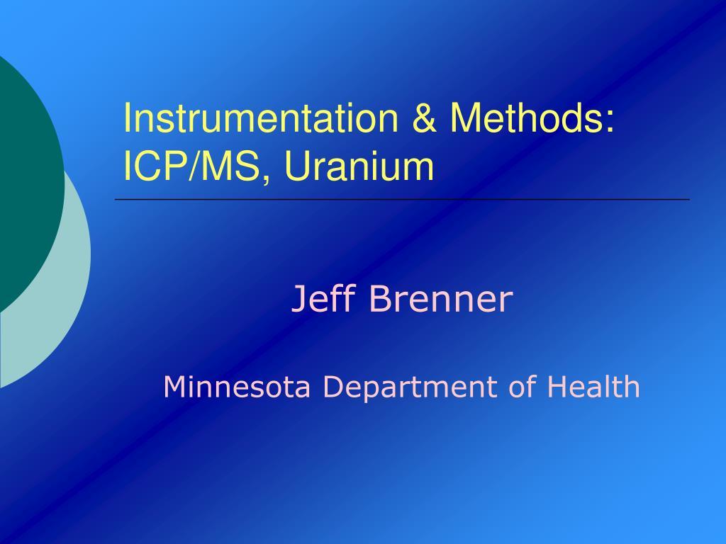 instrumentation methods icp ms uranium l.