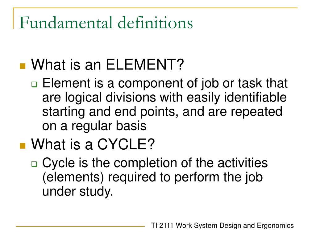 Fundamental definitions