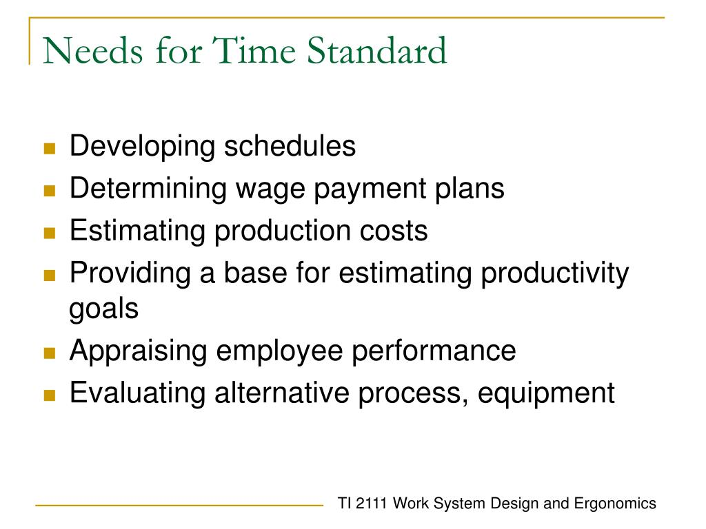 Needs for Time Standard