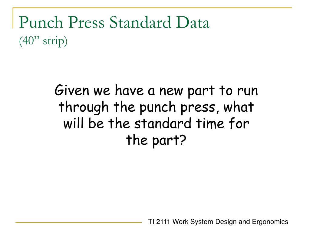 Punch Press Standard Data