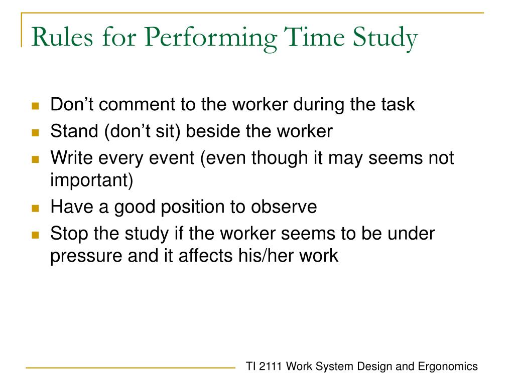 Rules for Performing Time Study