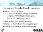 emerging trends rural hospitals