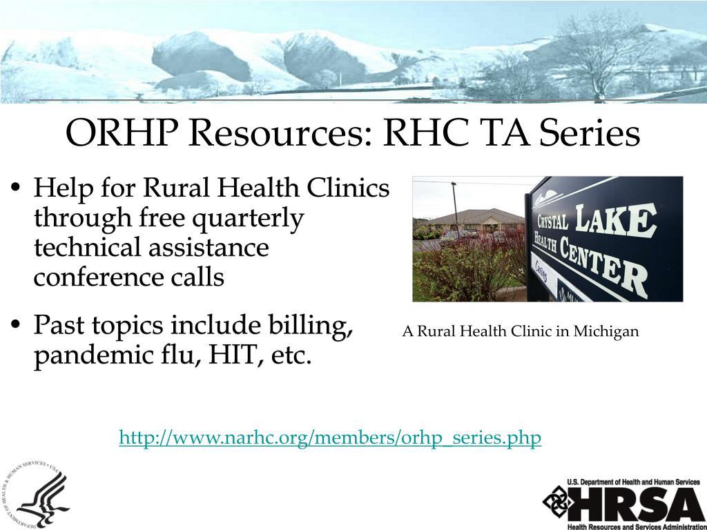 ORHP Resources: RHC TA Series