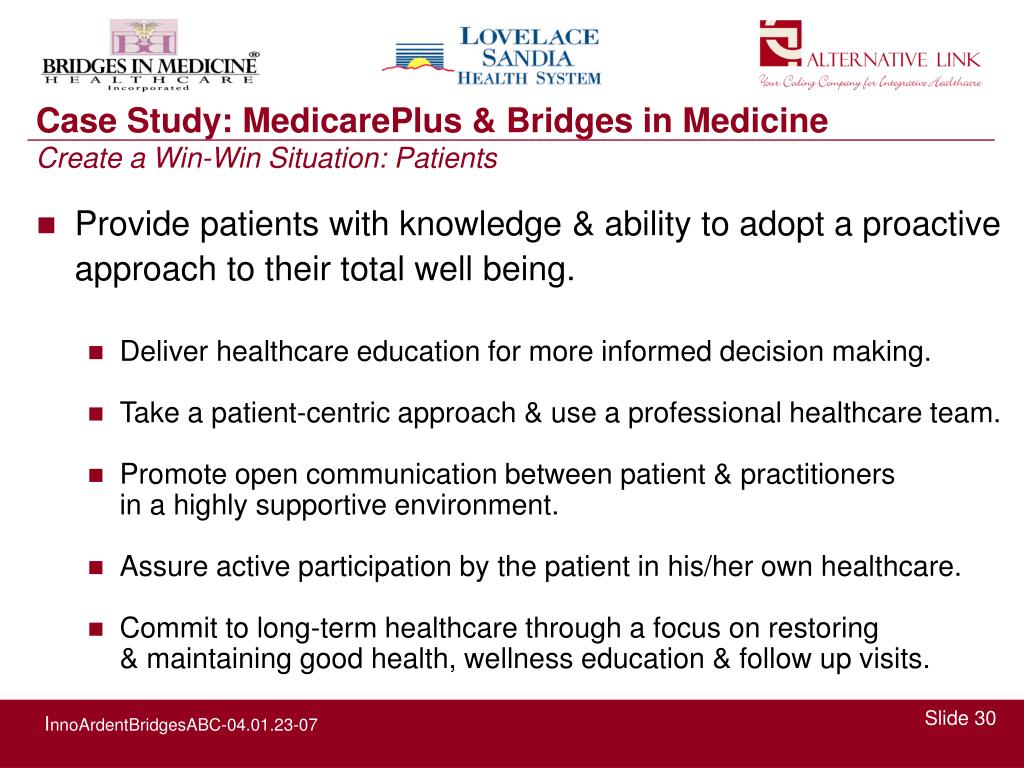 Provide patients with knowledge & ability to adopt a proactive approach to their total well being.