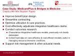 case study medicareplus bridges in medicine create a win win situation payors