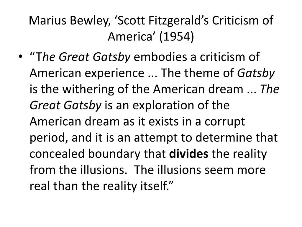 the use of illusions in the great gatsby by f scott fitzgerald