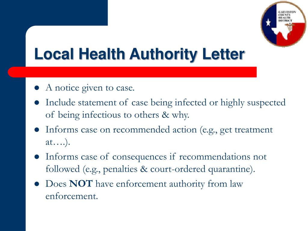 Local Health Authority Letter