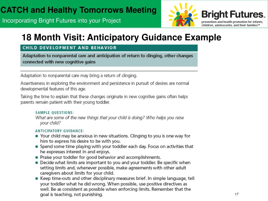 18 Month Visit: Anticipatory Guidance Example