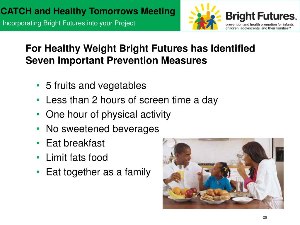 For Healthy Weight Bright Futures has Identified Seven Important Prevention Measures