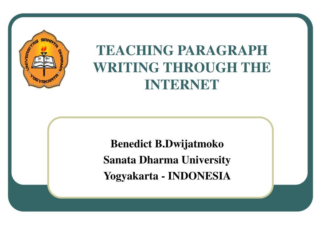 teaching paragraph writing through the internet l.