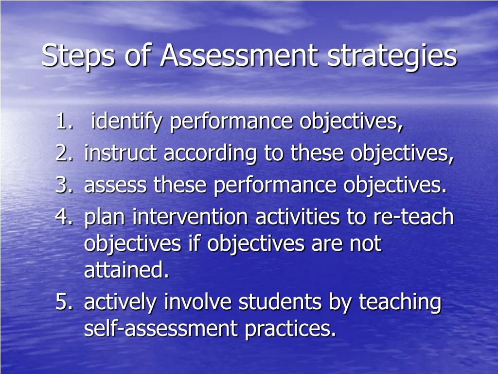 Steps of Assessment strategies