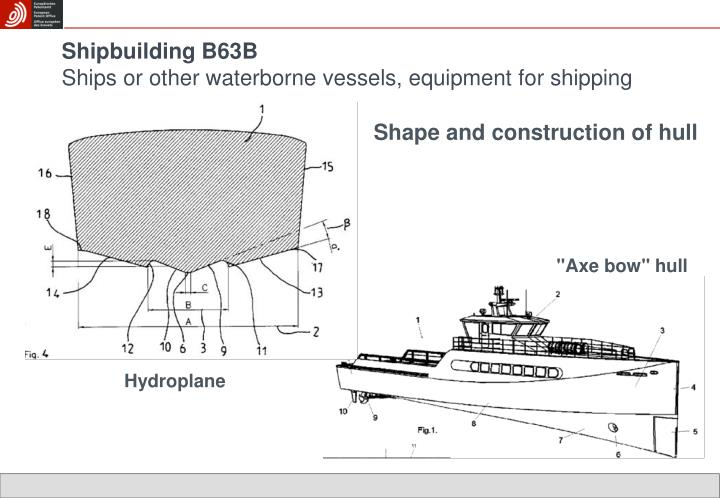 Shipbuilding b63b ships or other waterborne vessels equipment for shipping