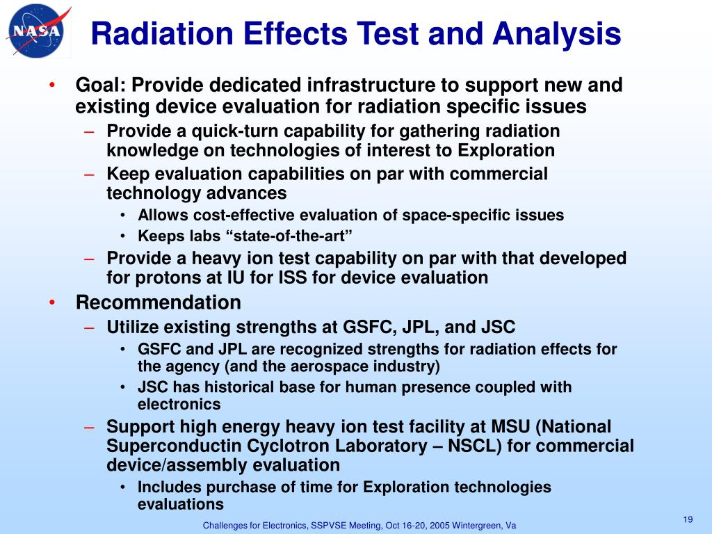 Radiation Effects Test and Analysis