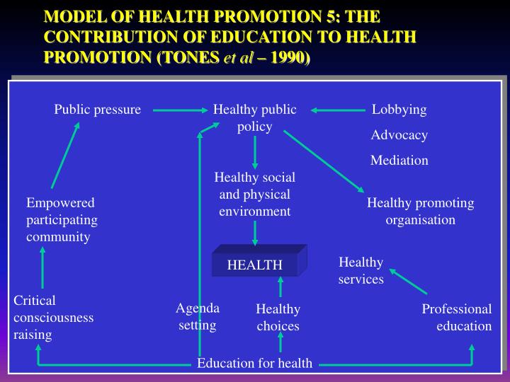 health promotion model a meta synthesis Health promotion does not just concern health services but also the social determinants of health that make up this context [54 - 56] social determinants have been widely shown to have a strong influence on health [ 2 , 5 , 6 , 53 .