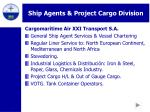 ship agents project cargo division