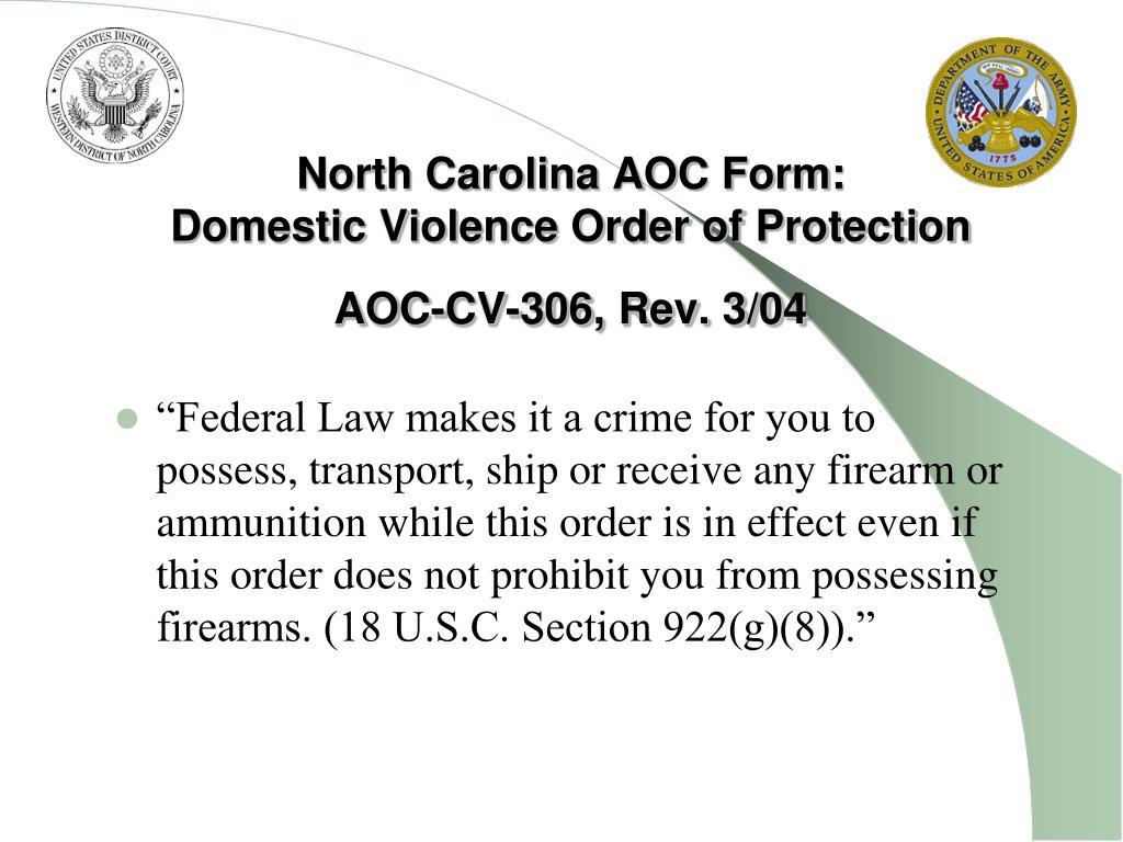 North Carolina AOC Form: