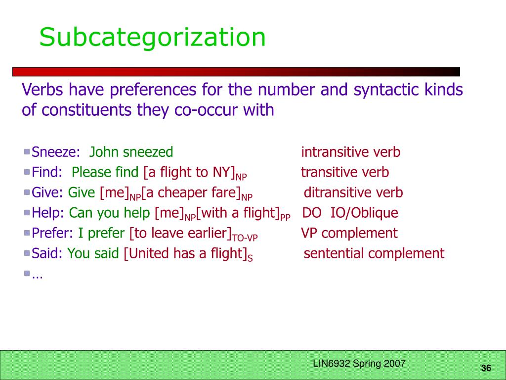 Subcategorization