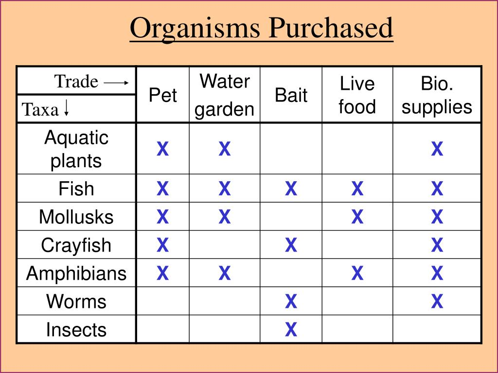 Organisms Purchased