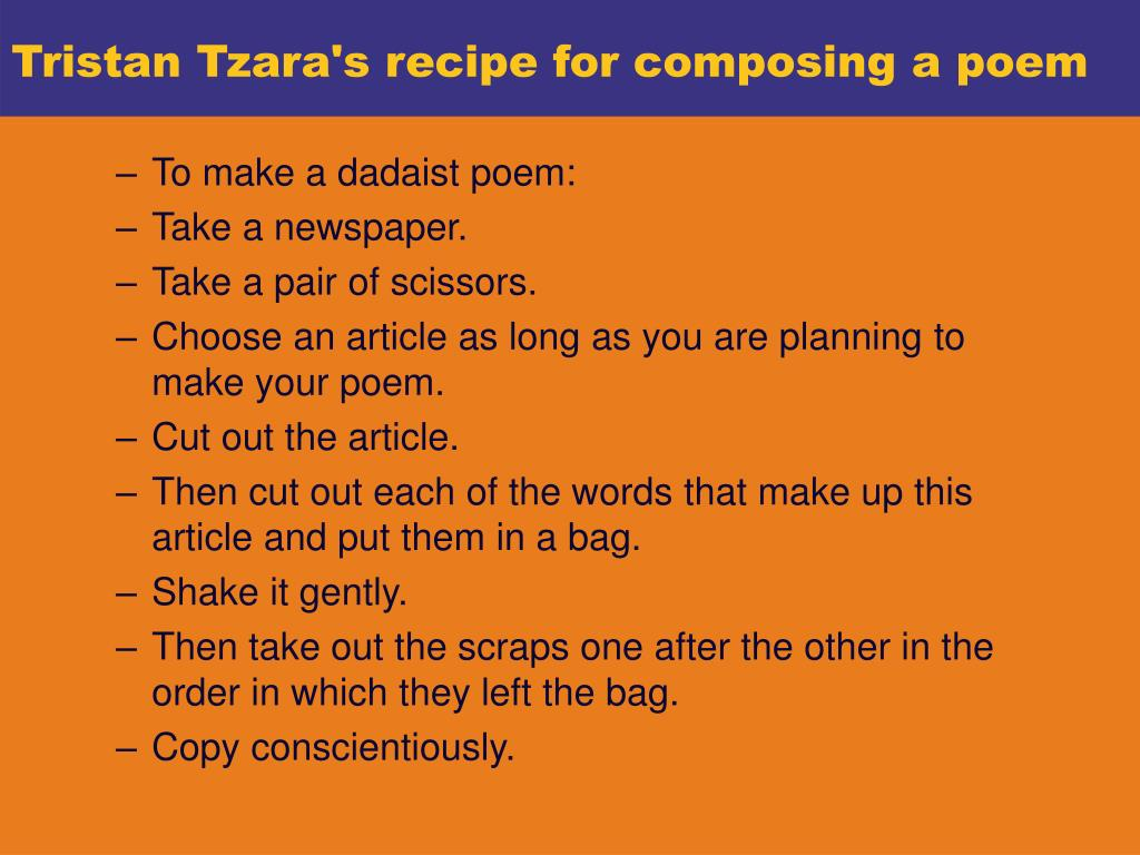 Tristan Tzara's recipe for composing a poem