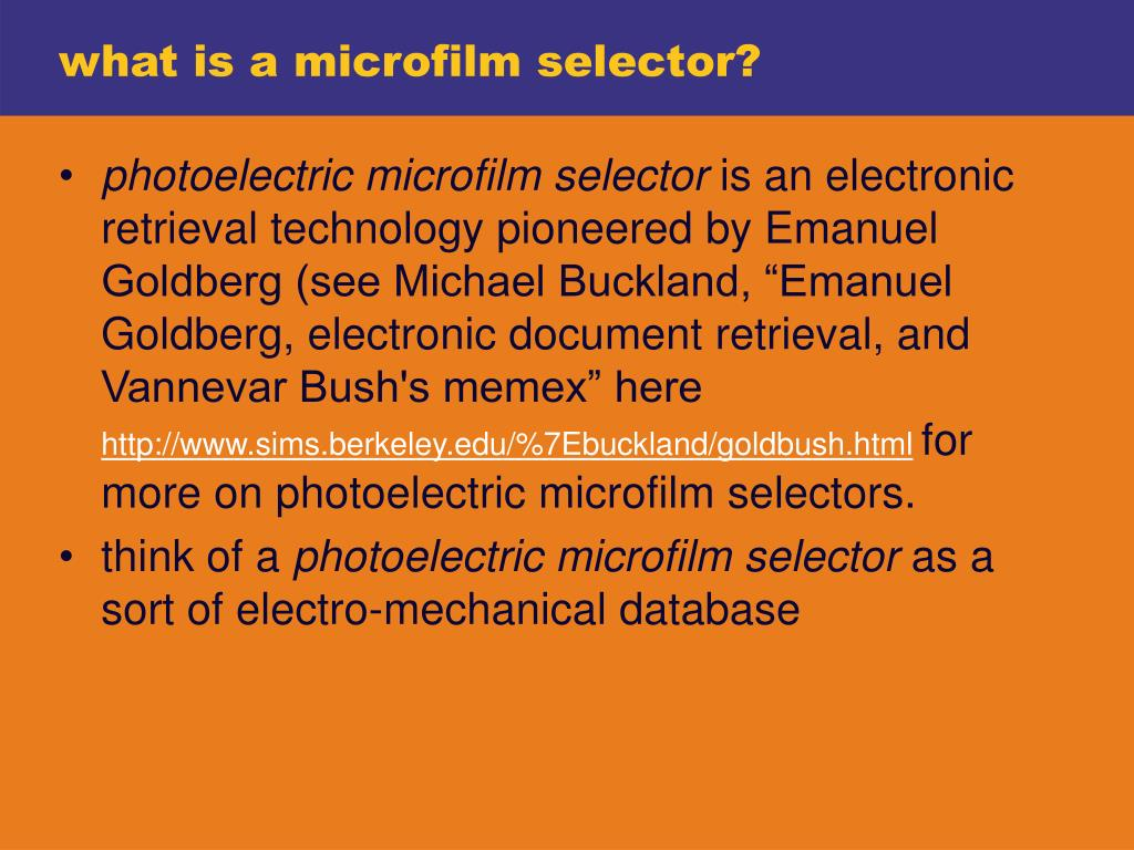 what is a microfilm selector?