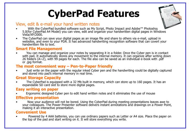 Cyberpad features