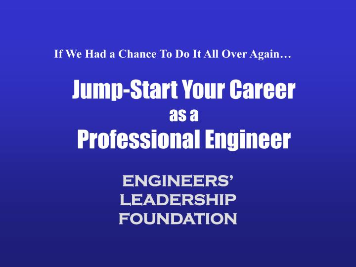 jump start your career as a professional engineer n.