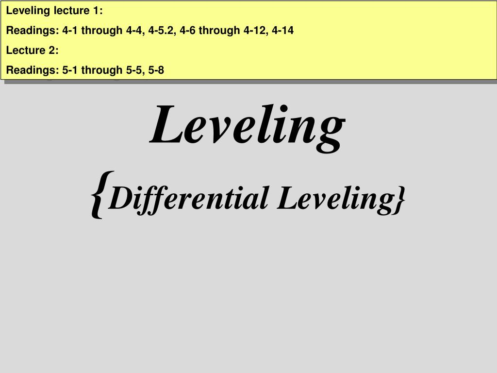 leveling differential leveling l.