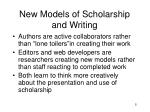 new models of scholarship and writing