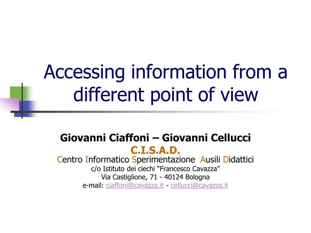 accessing information from a different point of view l.