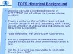 tots historical background