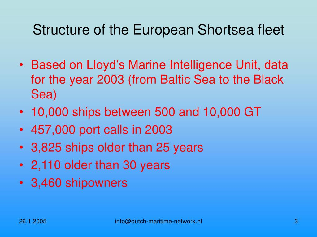 Structure of the European Shortsea fleet