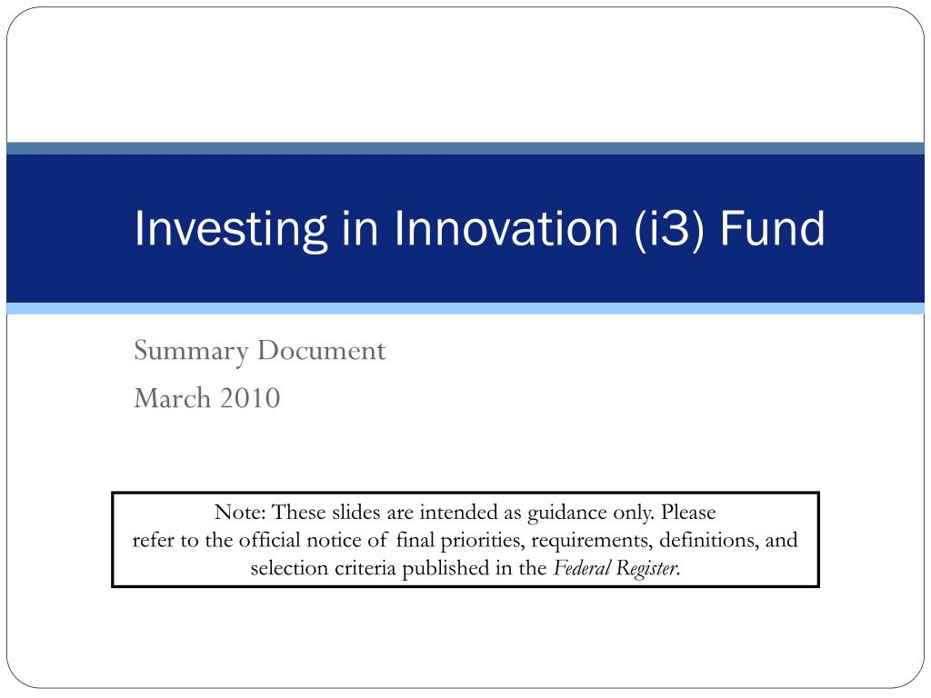investing in innovation i3 fund l.