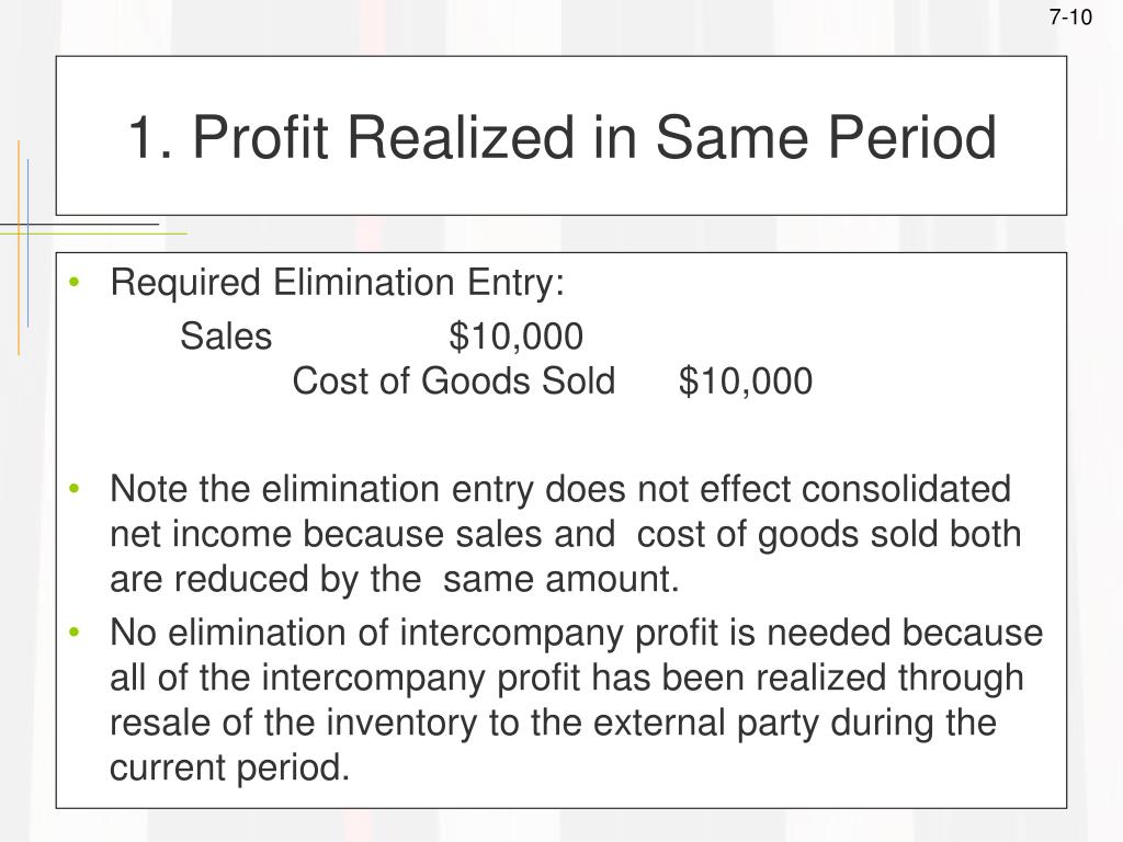 1. Profit Realized in Same Period