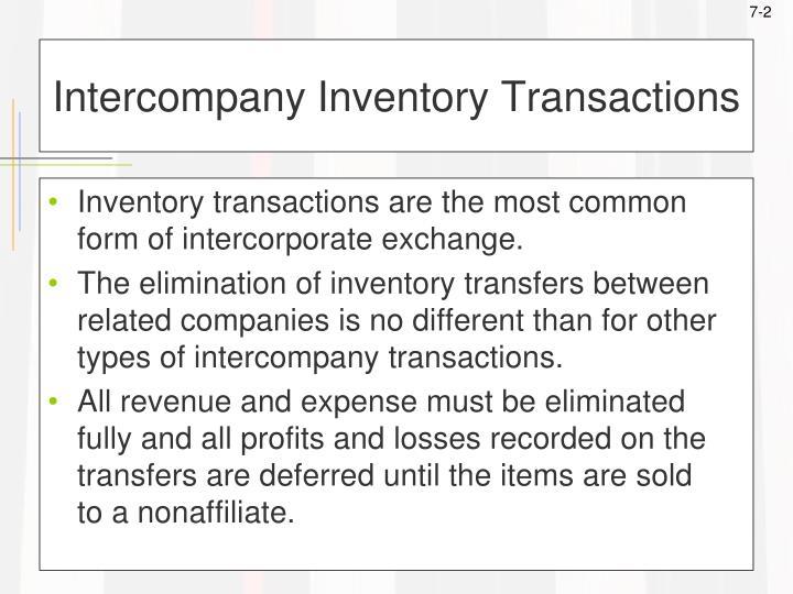 Intercompany inventory transactions