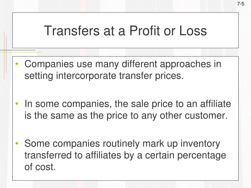 Transfers at a Profit or Loss