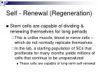 self renewal regeneration