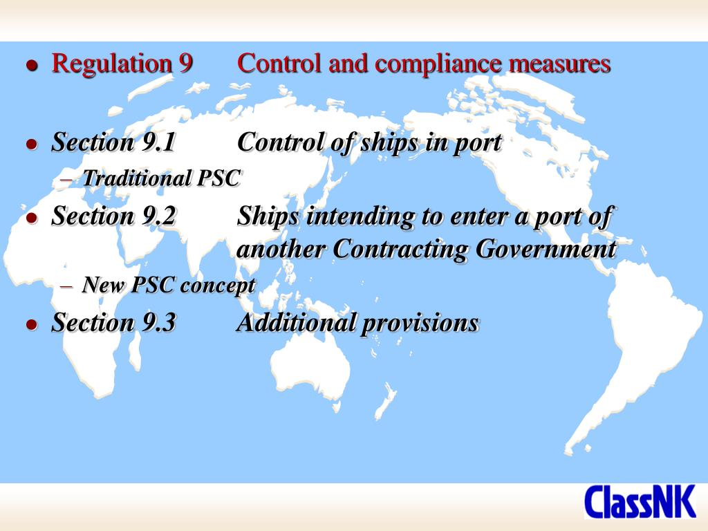 Regulation 9	Control and compliance measures