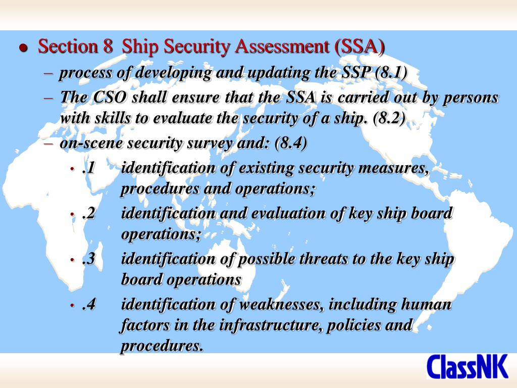 Section 8	Ship Security Assessment (SSA)