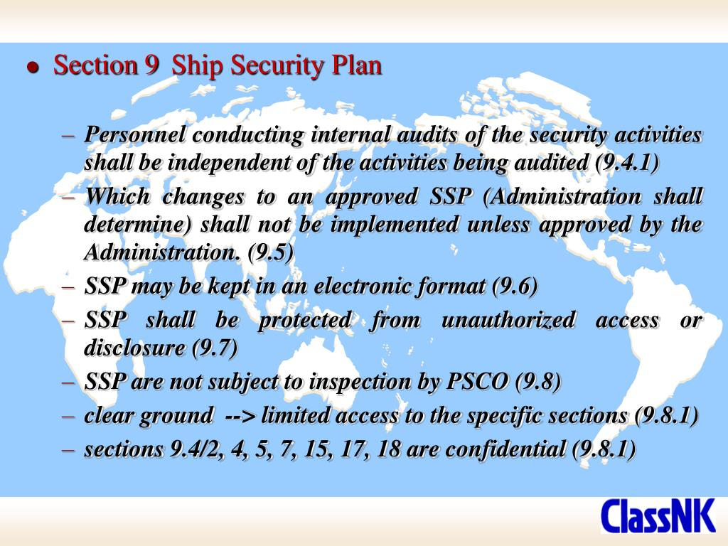 Section 9	Ship Security Plan