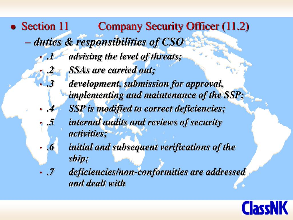 Section 11	Company Security Officer (11.2)
