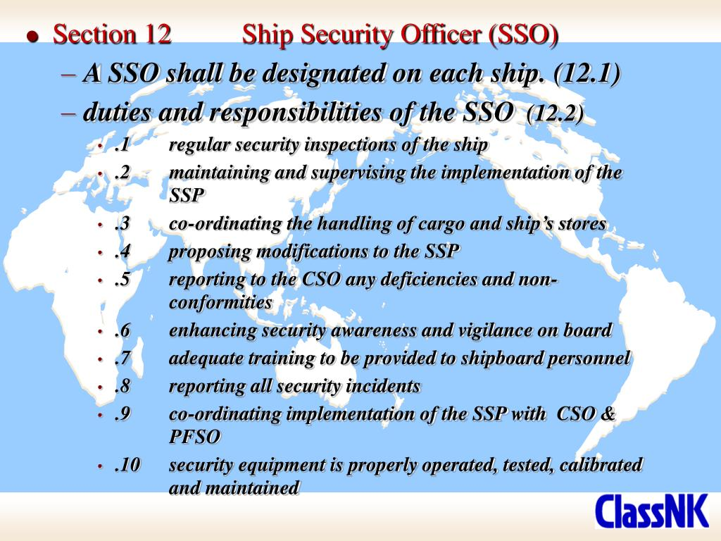 Section 12	Ship Security Officer (SSO)