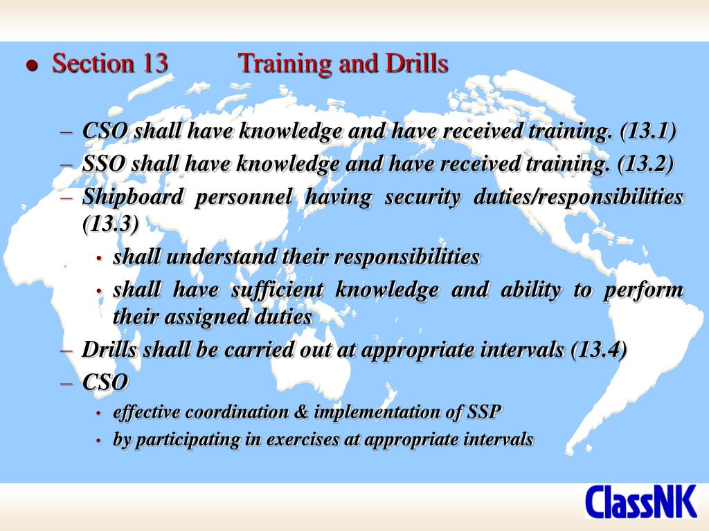 Section 13	Training and Drills