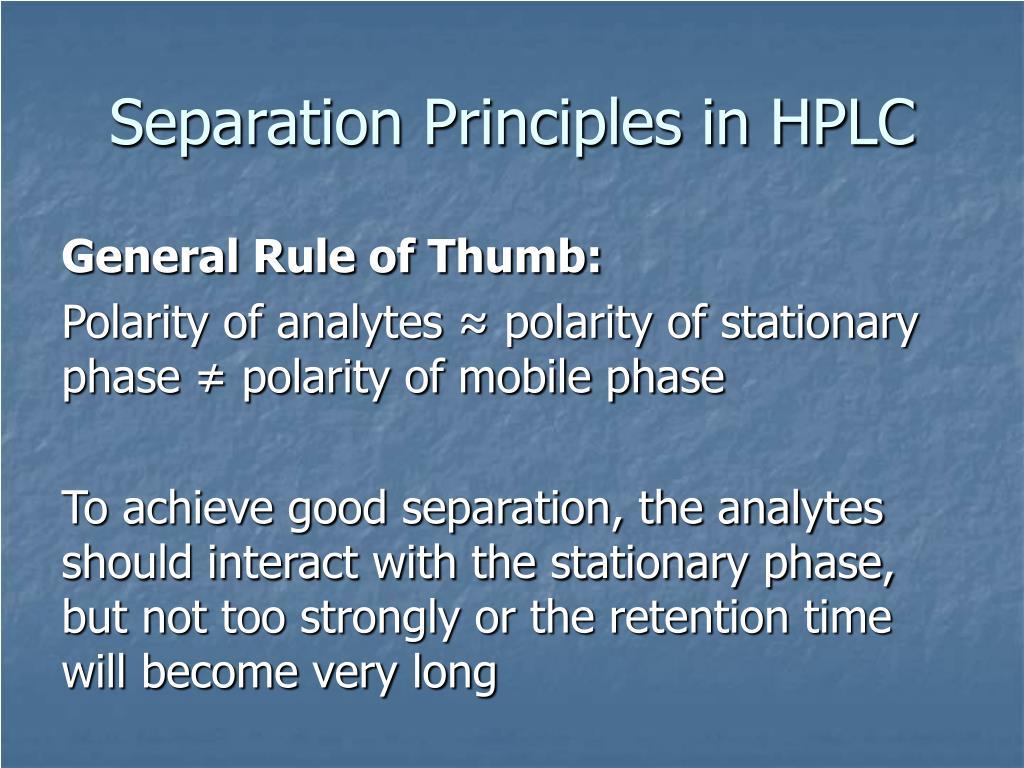 Separation Principles in HPLC