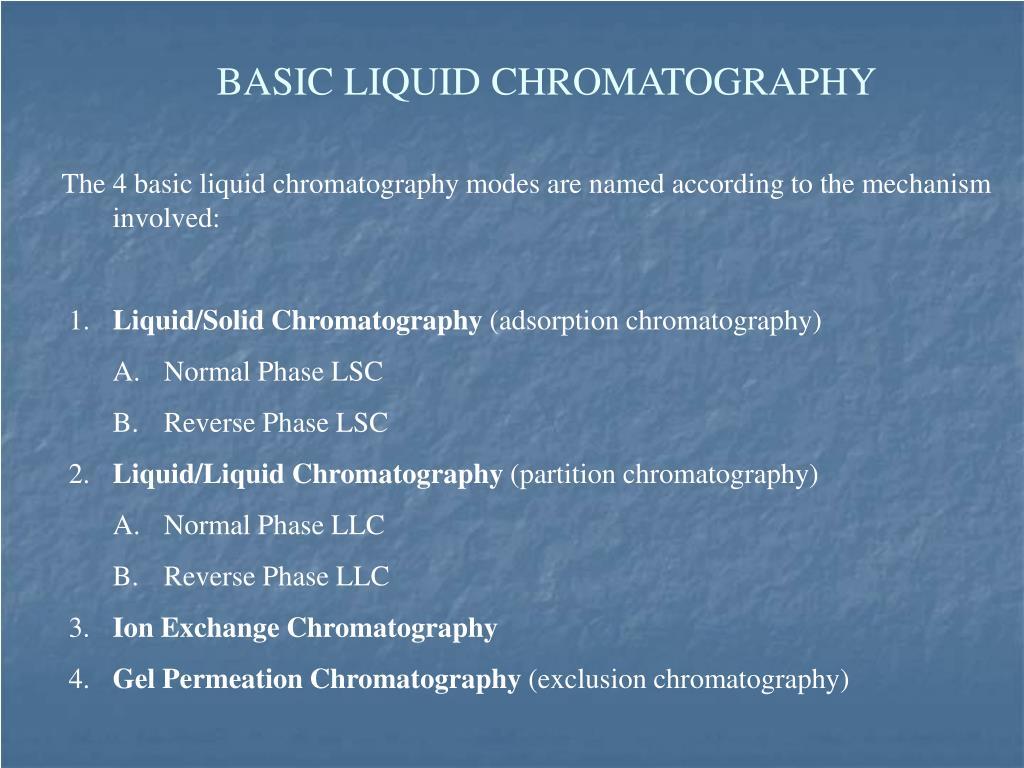BASIC LIQUID CHROMATOGRAPHY