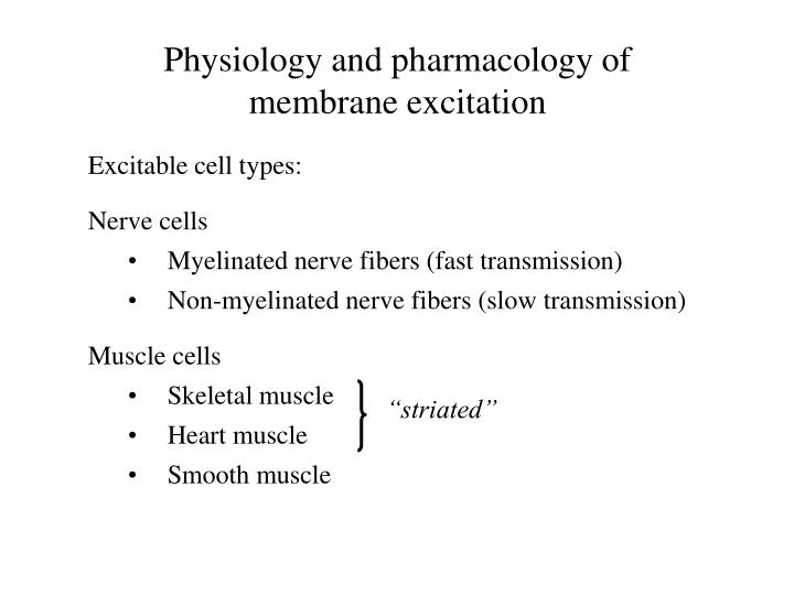 Physiology and pharmacology of membrane excitation