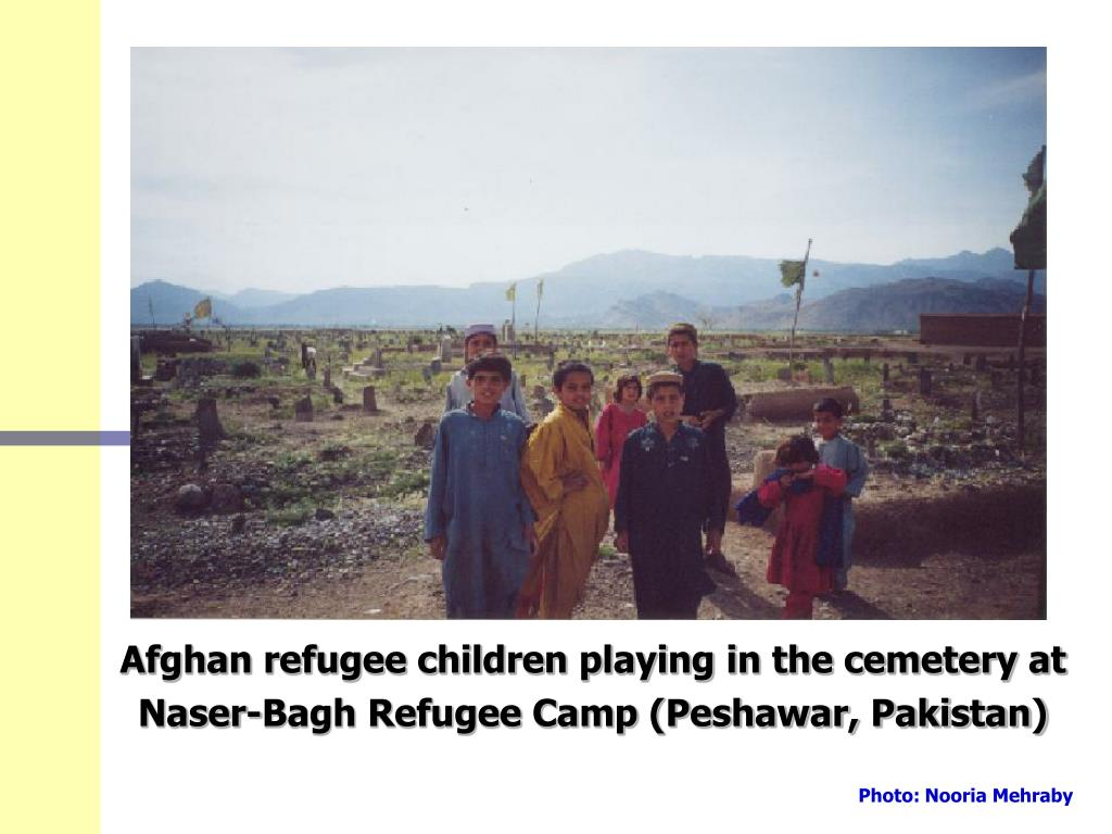 Afghan refugee children playing in the cemetery at