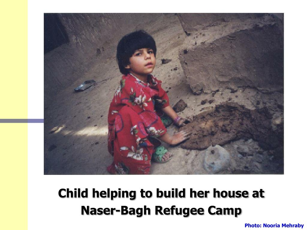 Child helping to build her house at